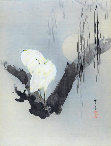 Wall Art - Painting - White Egret And Moon - Digital Remastered Edition by Watanabe Seitei