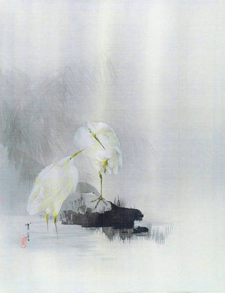 Wall Art - Painting - White Egret - Digital Remastered Edition by Watanabe Seitei