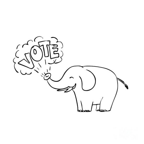 Presidency Digital Art - White Elephant Vote Drawing by Aloysius Patrimonio