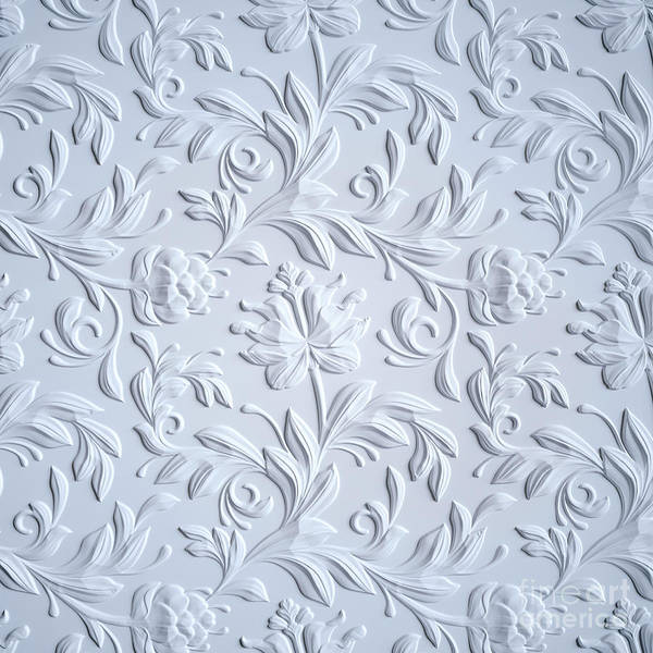 Wall Art - Digital Art - White Embossed Flowers Pattern by Wacomka
