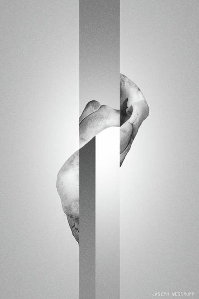Photograph - White Endobrume - Surreal Abstract Elephant Bone Collage With Rectangles by Joseph Westrupp
