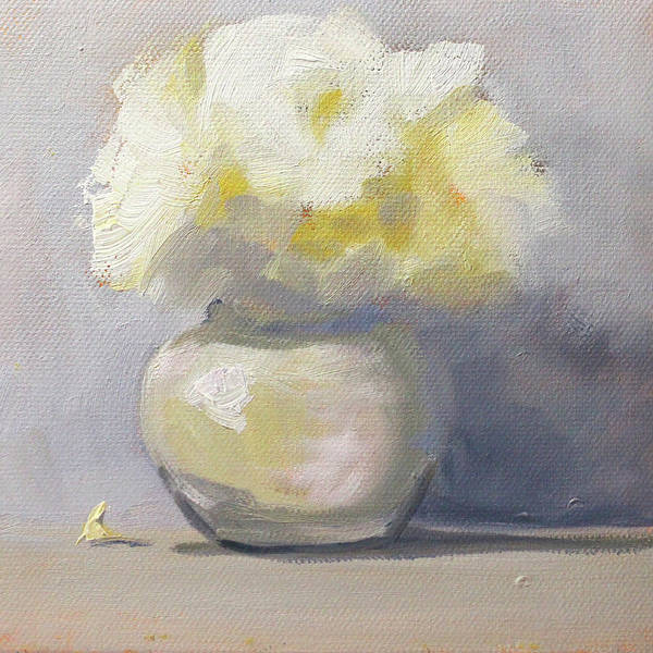 Wall Art - Painting - White Flowers Still Life by Nancy Merkle