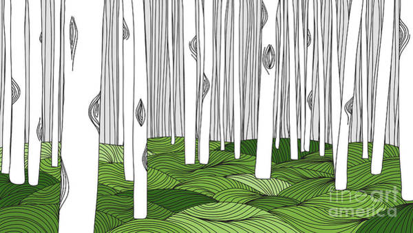 Tree Bark Wall Art - Digital Art - White Forest And Green Meadow, Line Art by Momojung