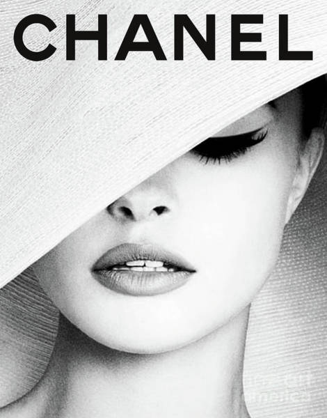 Vogue Mixed Media - White Hat Cover, Coco Chanel by Thomas Pollart
