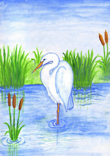 Painting - White Heron by Irina Dobrotsvet