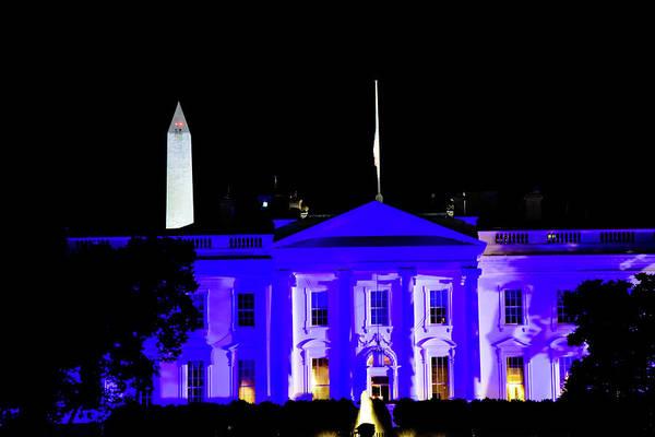Wall Art - Photograph - White House Lit Up Blue  by Edward Garey