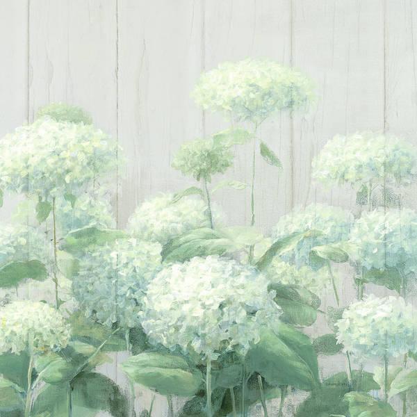Wall Art - Painting - White Hydrangea Garden Sage On Wood Crop by Danhui Nai