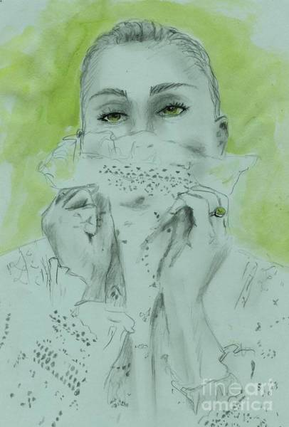 Wall Art - Drawing - White Lace And Green Eyes by PJ Lewis