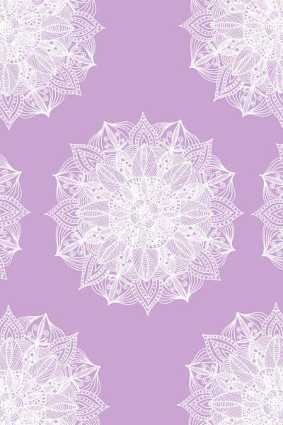 Mixed Media - White Mandala Pattern On Rose by Sebastian Grafmann