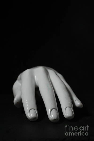 Photograph - White Mannequin Hand Over Black by Edward Fielding