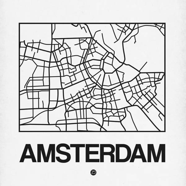 Holland Digital Art - White Map Of Amsterdam by Naxart Studio
