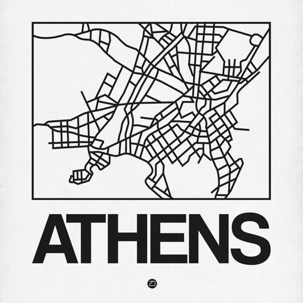 Wall Art - Digital Art - White Map Of Athens by Naxart Studio