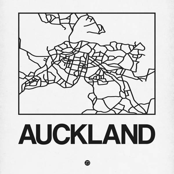 Downtown Digital Art - White Map Of Auckland by Naxart Studio