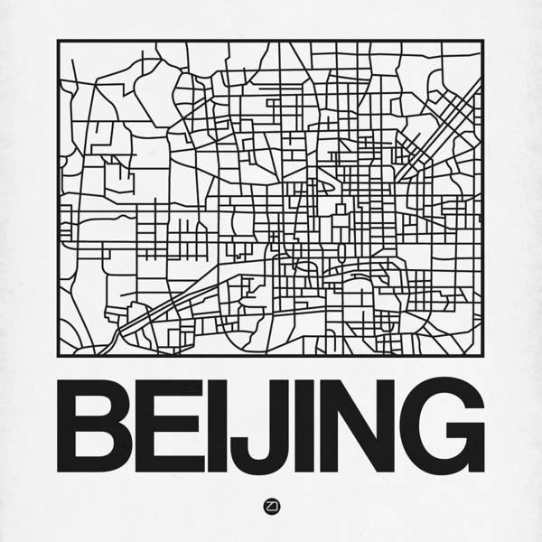 Wall Art - Digital Art - White Map Of Beijing by Naxart Studio