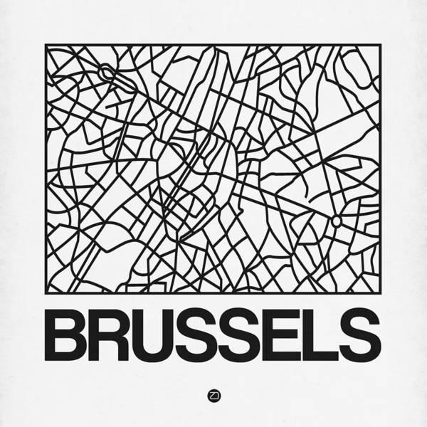 Wall Art - Digital Art - White Map Of Brussels by Naxart Studio
