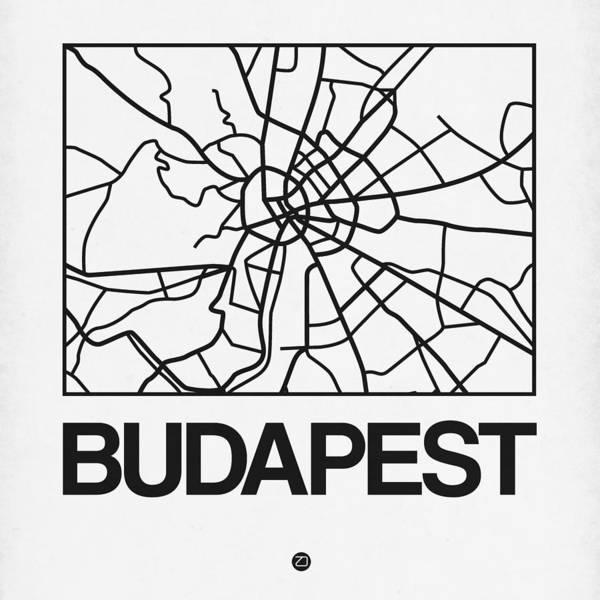 Wall Art - Digital Art - White Map Of Budapest by Naxart Studio