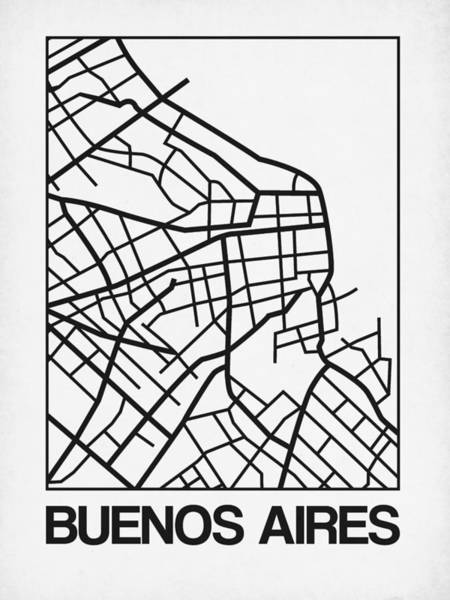 Wall Art - Digital Art - White Map Of Buenos Aires by Naxart Studio
