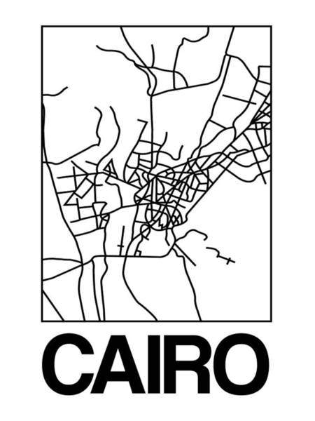 Egypt Digital Art - White Map Of Cairo by Naxart Studio