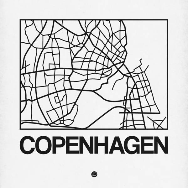 Wall Art - Digital Art - White Map Of Copenhagen by Naxart Studio