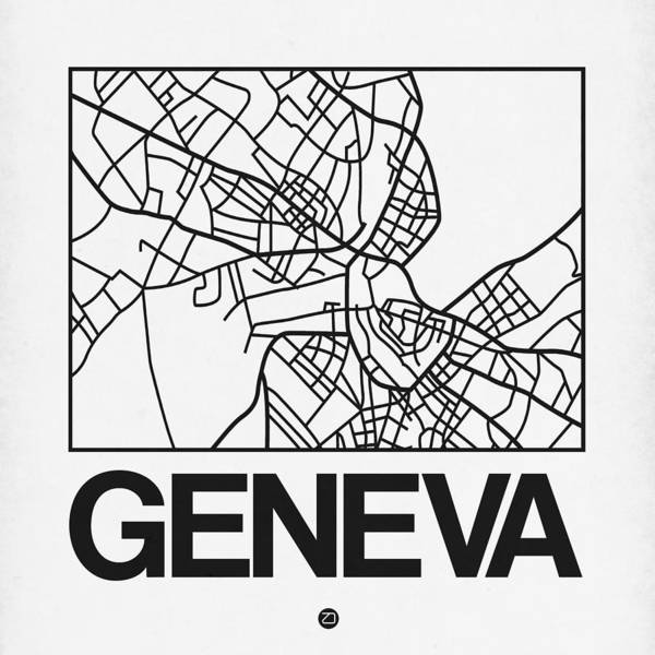Wall Art - Digital Art - White Map Of Geneva by Naxart Studio