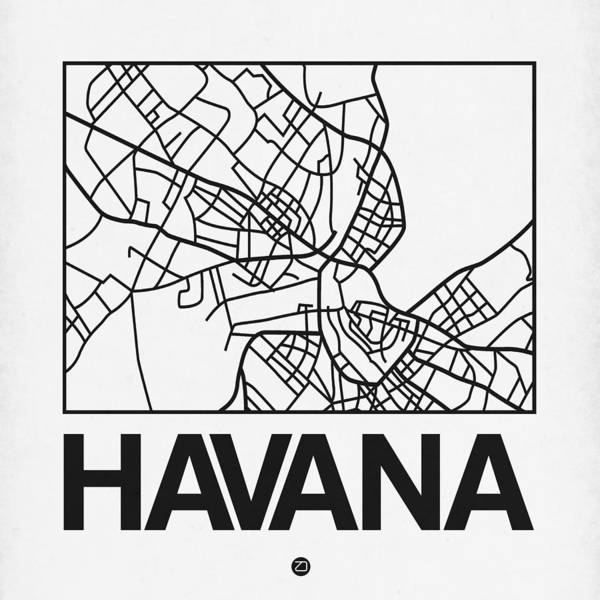 Havana Wall Art - Digital Art - White Map Of Havana by Naxart Studio
