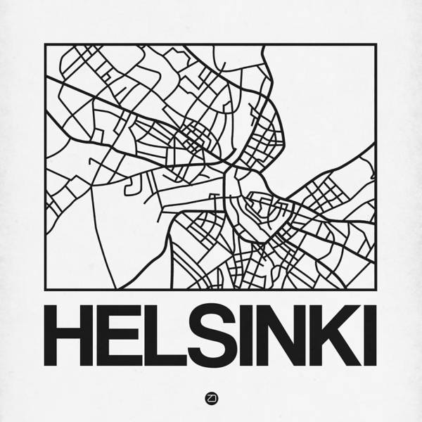 World Traveler Wall Art - Digital Art - White Map Of Helsinki by Naxart Studio