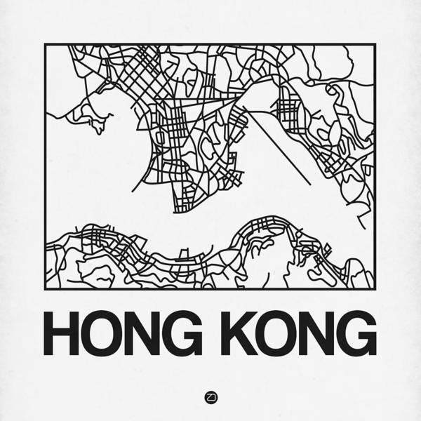 Wall Art - Digital Art - White Map Of Hong Kong by Naxart Studio