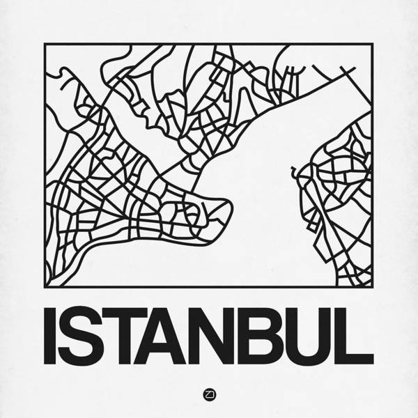 Wall Art - Digital Art - White Map Of Istanbul by Naxart Studio
