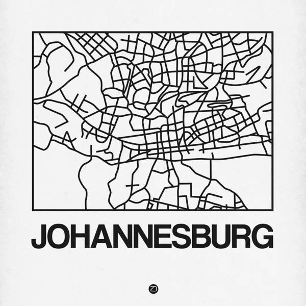 World Traveler Wall Art - Digital Art - White Map Of Johannesburg by Naxart Studio