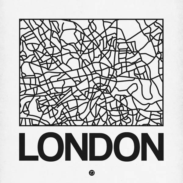 Wall Art - Digital Art - White Map Of London by Naxart Studio