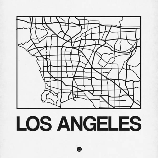 California Digital Art - White Map Of Los Angeles by Naxart Studio