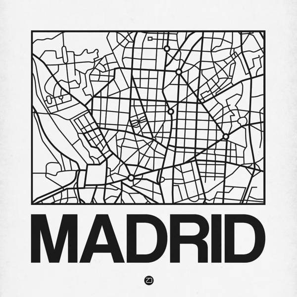 World Traveler Wall Art - Digital Art - White Map Of Madrid by Naxart Studio