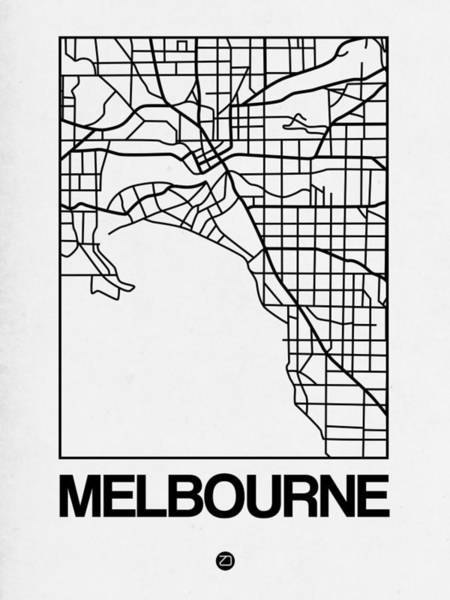 Wall Art - Digital Art - White Map Of Melbourne by Naxart Studio