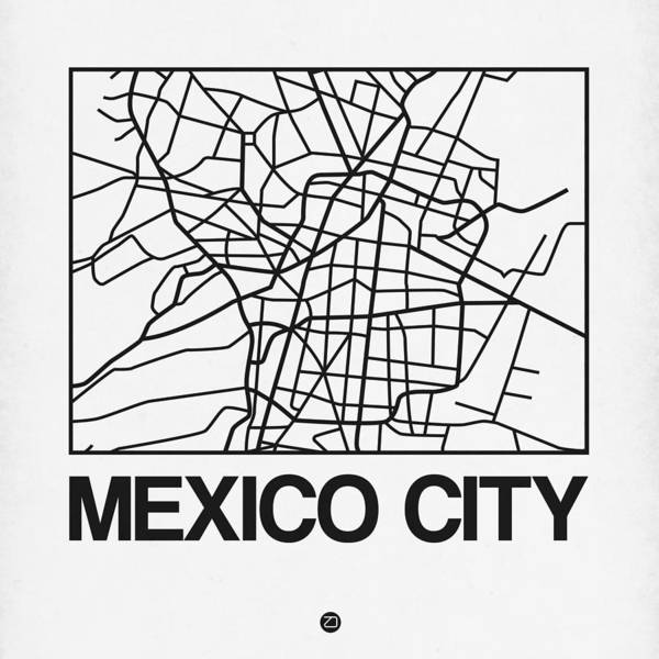 Wall Art - Digital Art - White Map Of Mexico City by Naxart Studio