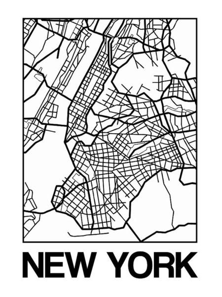 Downtown Digital Art - White Map Of New York by Naxart Studio