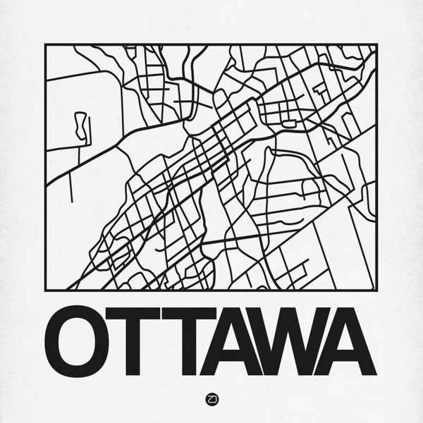 Unique Wall Art - Digital Art - White Map Of Ottawa by Naxart Studio