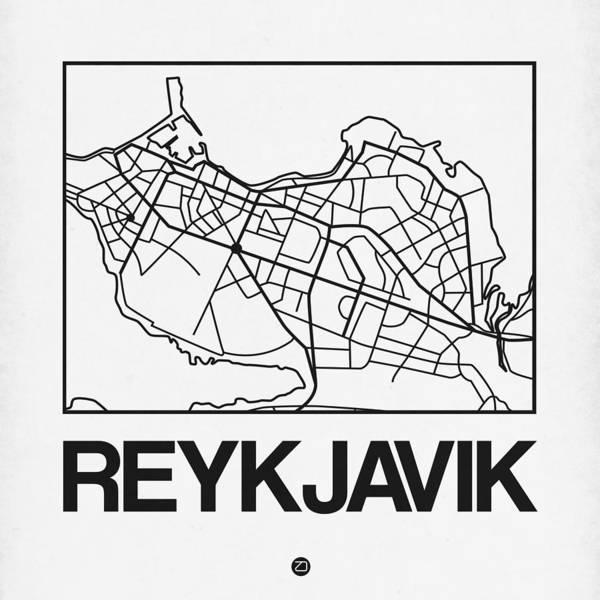 Wall Art - Digital Art - White Map Of Reykjavik by Naxart Studio