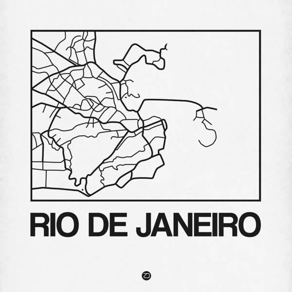 Wall Art - Digital Art - White Map Of Rio De Janeiro by Naxart Studio