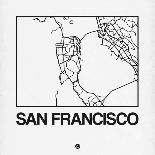 California Digital Art - White Map Of San Francisco by Naxart Studio