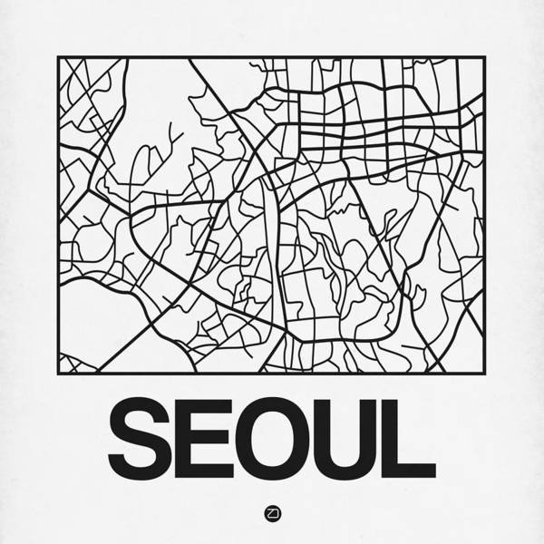 Wall Art - Digital Art - White Map Of Sao Paulo by Naxart Studio