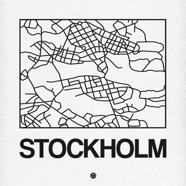 Wall Art - Digital Art - White Map Of Stockholm by Naxart Studio