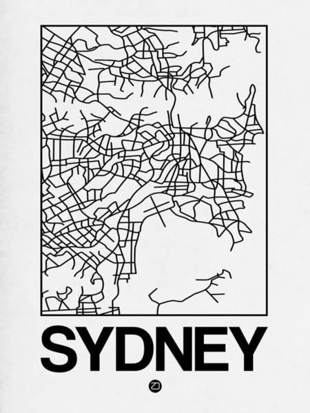Wall Art - Digital Art - White Map Of Sydney by Naxart Studio