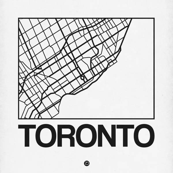 Wall Art - Digital Art - White Map Of Toronto by Naxart Studio