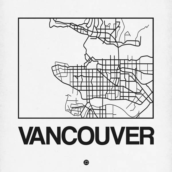World Traveler Wall Art - Digital Art - White Map Of Vancouver by Naxart Studio
