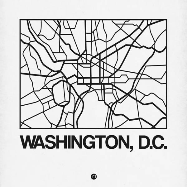 C Wall Art - Digital Art - White Map Of Washington, D.c. by Naxart Studio
