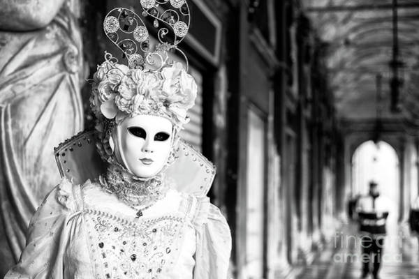 Photograph - White Mask At Venice Carnival by John Rizzuto