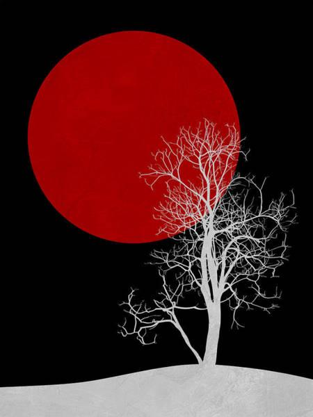 Earth Day Wall Art - Mixed Media - White Night Tree by Naxart Studio