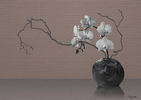 Wall Art - Digital Art - White Orchids In Crane Vase by Spadecaller