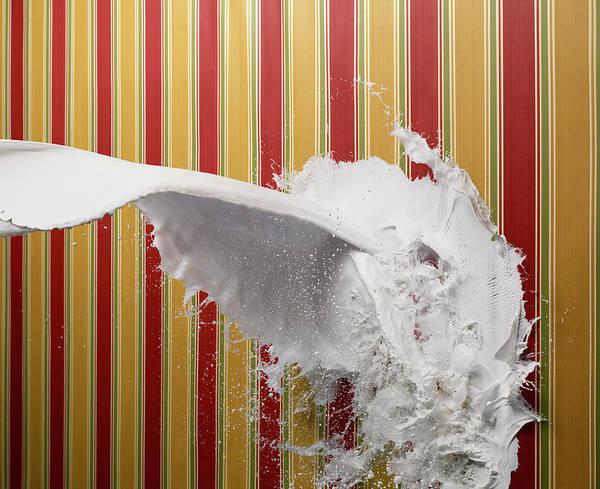 Horizontal Stripes Photograph - White Paint Splattering On Stripe by Biwa Studio
