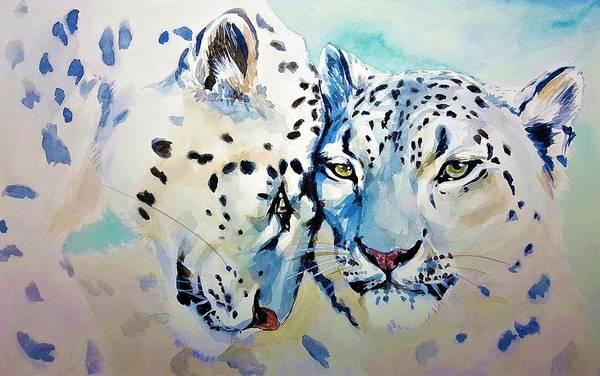 Snow Leopard Wall Art - Painting - Snow Leopard by ArtMarketJapan